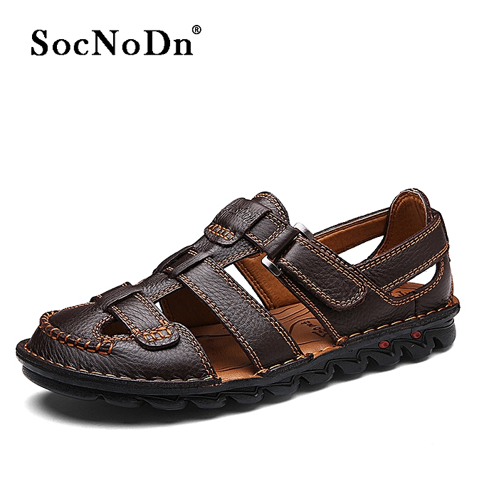 40da0ed45 SocNoDn Men Casual Fashion Leather Beach Sandals Shoes Luxury Brown ...