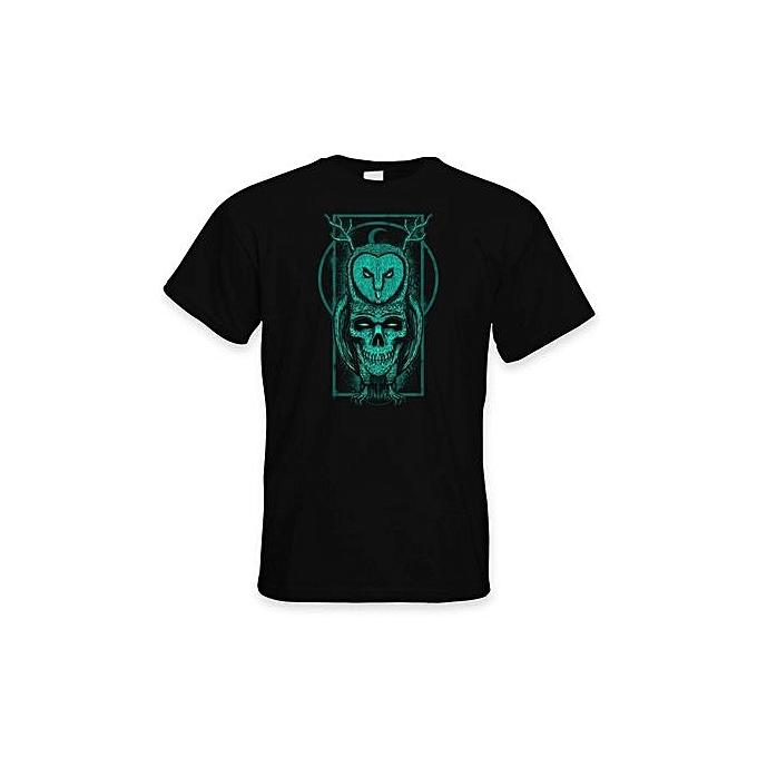 Skull Owl Hipster Men's Summer T-Shirt - Pagan Wicca Celtic