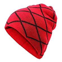 Men Male Knitted Slouch Beanie Hat Grid Twill Square Double Layer Elastic Outdoor Cap