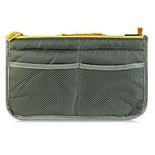 Women Mesh Double Zipper Storage Bag - Grey