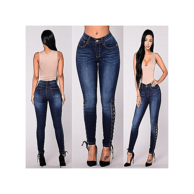 Beautiful 1 Pc Dark Blue Trousers With Pocket 5 Sizes Women High Waist Jeans Fashion Stretchy Button Fly Denim Skinny Pants Jeans
