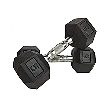 5kg pair fixed gym weight (Hexagon shaped) rubber dumbbells with silver