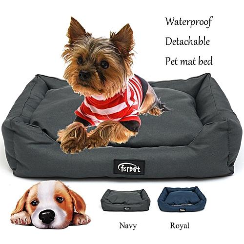 19'' Dog Bed Waterproof Washable Hardwearing Pet Basket Mat Cushion Navy/Royal