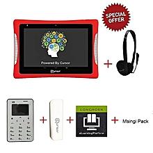 8'' Educational Tablet + Cursor Mini Mobile Phone + Powerbank + Head Phone + Free Longhorn E- learning platform & Msingi Pack