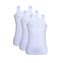 Worlds Top Quality Pure Cotton Set of 3 Vests. White
