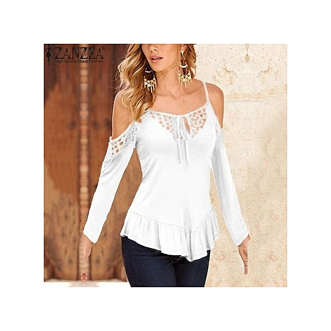 639b11f7b6bcb2 ZANZEA5 Color Fashion Blusas New Off Shoulder Hollow Out Blouse Women Long  Sleeve Solid Shirts Ladies