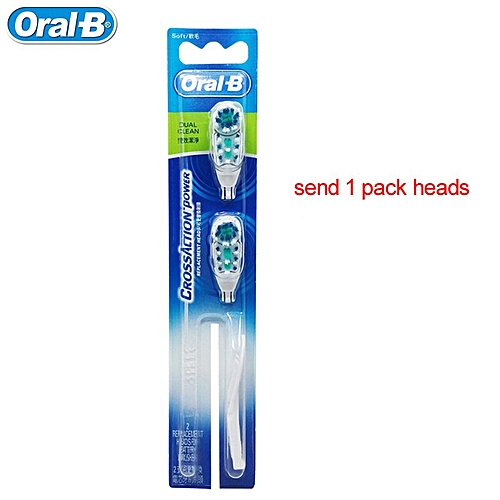 Adults Electric Toothbrush Oral B Cross Action Toothbrush Teeth Brush and  Replacement Use AA Battery you can choose color(1 pack heads)