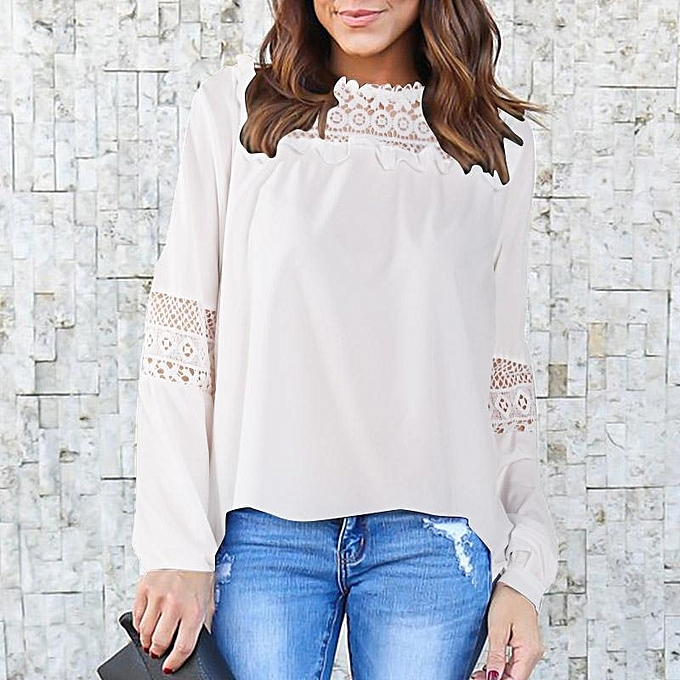 ZANZEA Women Lace Crochet Loose Ladies Blouse T Shirt Babydoll Tops Plus  Off White ce24c47c4edb