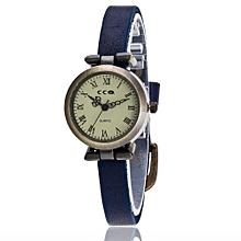 Lady  Leather Wrist Watch CCQ Vansvar Women's Casual Quartz Leather Band Newv Strap Watch Analog Wrist Watch-Blue