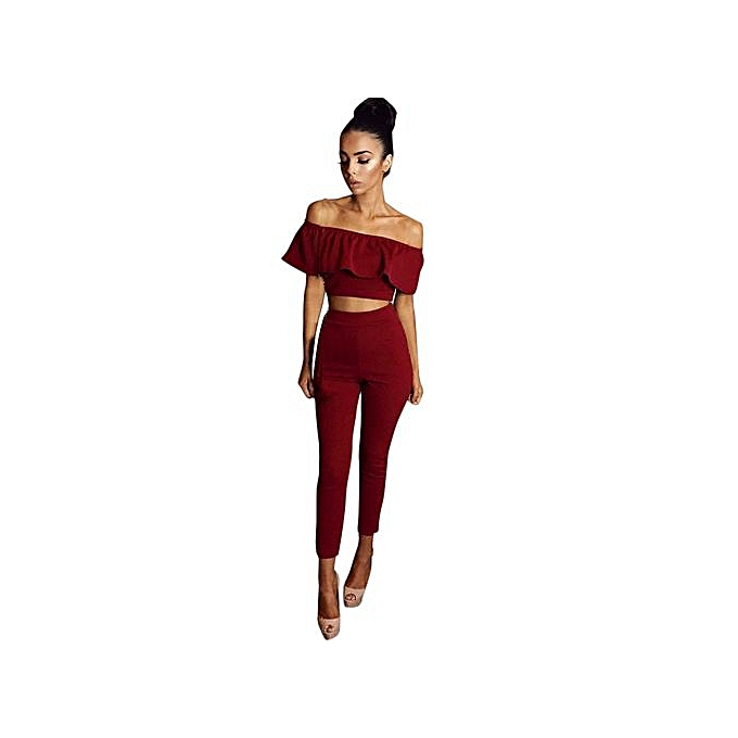 b0ca1f66 Hiaojbk Store Womens 2 Piece Crop Top Jumpsuit Ladies Sleeveless Cut Out Playsuit  RD L-