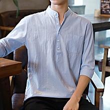 Slim Formal Shirts Men Short Sleeve Business Shirts (Sky Blue)