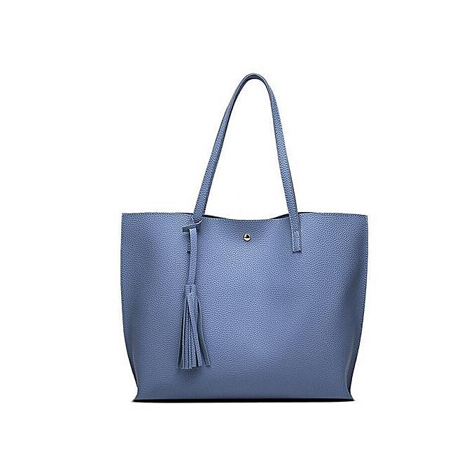 70d5703f5e Xingbiaocao Fashion Women Girls Tassels Leather Bag Shopping Handbag  Shoulder Tote Bag -Sky Blue