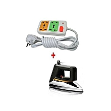 SR-1172 Iron box Dry + FREE 4-way Socket Extension Cable - Silver