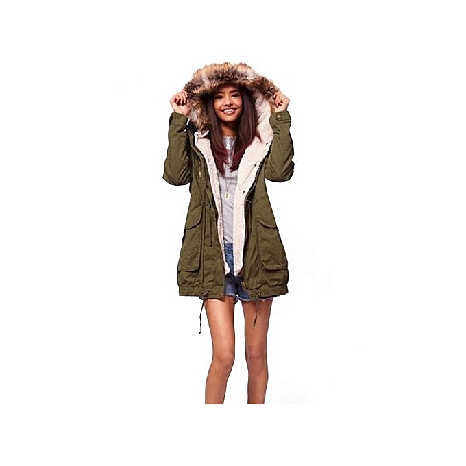 0a7531dd9 ZANZEA Women Winter Fleece Coat Hooded Faux Fur Trench Coat Jacket Parka  Coat Army Green