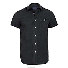 100% Premium Brushed Cotton Men's Shirt (Graphite)