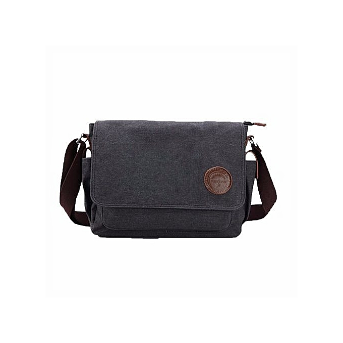 bluerdream-Men Vintage Canvas Messenger Shoulder Bag Crossbody Sling School  Bags Satchel BK-Black d45b9e04828a0