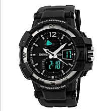 1040 Fashion Outdoor Men Sports Watches Brand LED Digital Quartz Waterproof Military Wristwatch - Silver