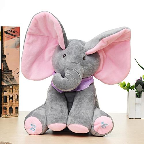 Baby Cute Peek-a-boo Elephant Plush Toy Singing Stuffed Animated Kids Soft Toy Gray Powder Ears