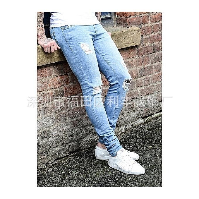 f108abd5915 GraceMen s Hole-pierced Men Jeans Runway Slim Jeans Fashion Hiphop Skinny  Jeans For Men -