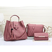 Stylish Lady Synthetic Leather Handbags 3in1-PINK