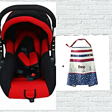 Superior Infant Baby Car Seat/ Carry Cot - Red & Black (0-3months)+ a free Nursing Cover