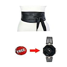 Black Obi Belt With An Elegant Black Free Wrist Watch ae54a867f5cc