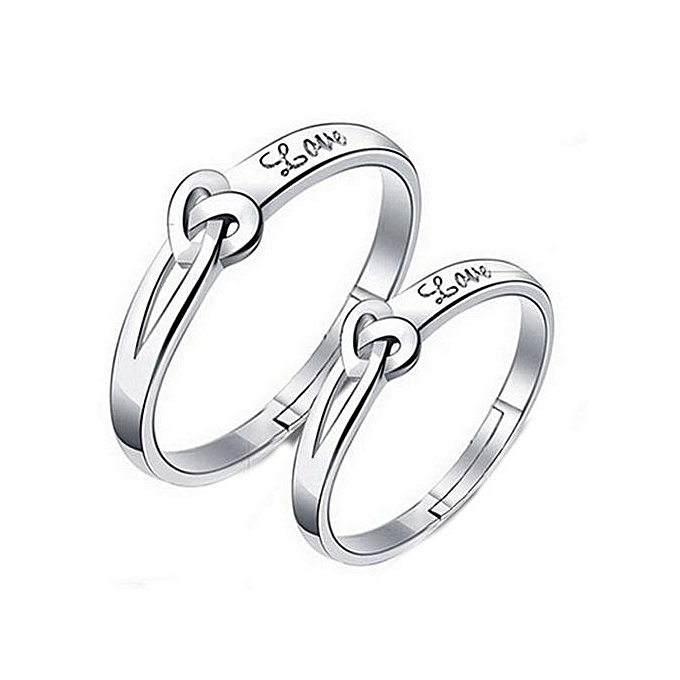 6a34b02726 Eleganya 1 Pair Fashion New Simple And Elegant Rhinestone Inlaid Alloy Ring  Couple Ring Jewelry Accessories