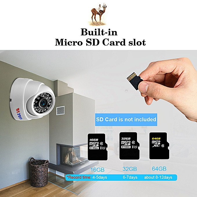 BESDER Wide Angle 2 8mm IP Camera Wireless Audio 1080P Indoor Dome Security  Wi-Fi IP Camera With SD Card Slot ONVIF RTSP FTP(960P NO Adapter)(3 6mm)