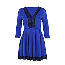 Blue V-Neck 3/4 Sleeve Floral Lace Splicing Skater Pleated Mini Dress