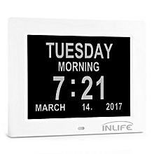 DDC - 8009 Inlife Memory Loss Digital Calender Day Clock With Screen-White