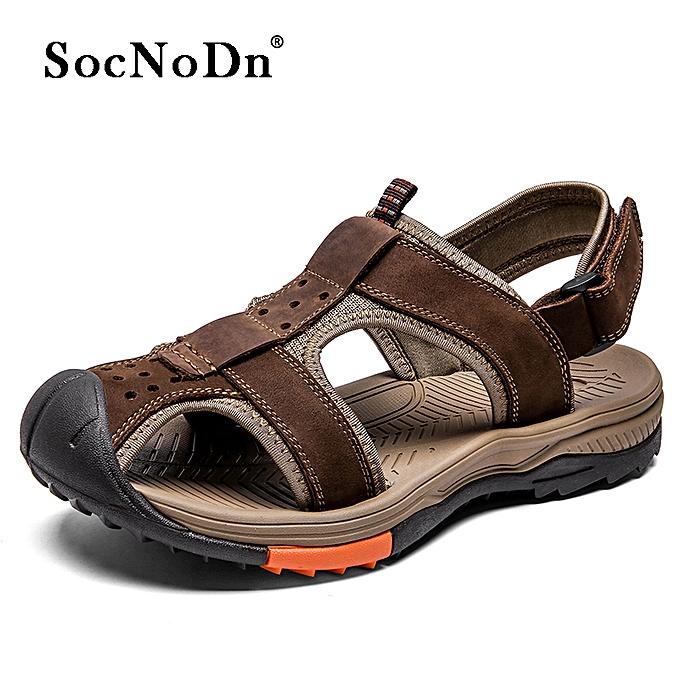 2cdcdd725 SocNoDn Men Casual Fashion Summer Beach Sandals Shoes Dark Brown ...