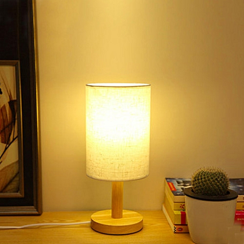 Wood Base Decoration Desk Table Bedside Lamp With Plug