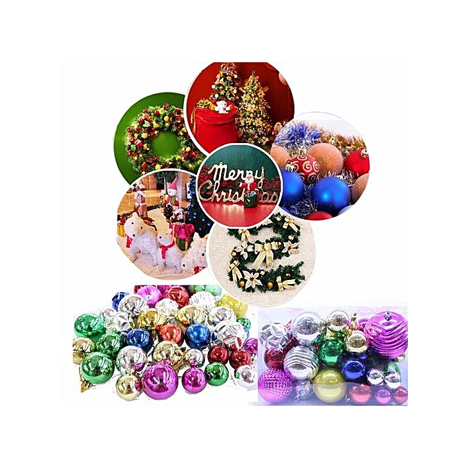 36 Pcs Xmas Glitter Light Baubles Ornaments Balls Party Christmas Tree Decorations