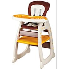 2-in-1 Convertible Baby High Feeding Chair - Orange/Brown