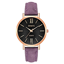 Fashion Leather Military Casual Analog Quartz Wrist Watch Business Watches-Purple