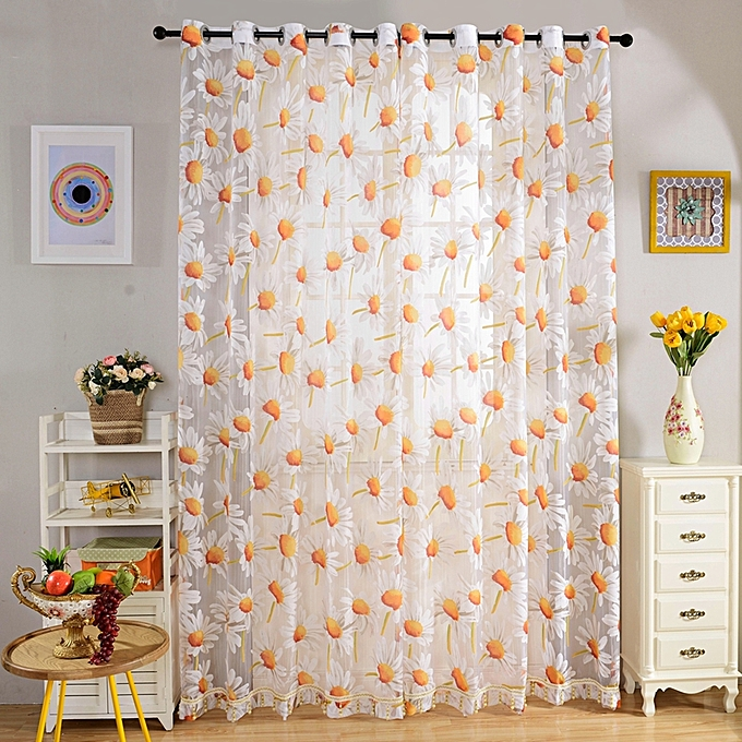 Kitchen Curtains In Kenya: Colormix 270cm X 100cm Floral Rustic Tull Voile Door
