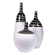 Ceramic Vase Set - White with Black Details