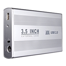 3.5-inch Silver USB 2.0 SATA External Desktop Hard Drive Enclosure Case Box
