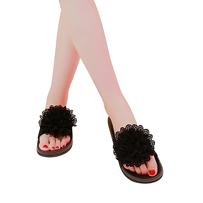 a87585a590c27 Technologg Shoes Women Solid Color Flower Round Toe Flat Heel Sandals  Slipper Beach Shoes Black-