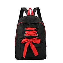 Simple Canvas Backpack Women Girl Rucksack Bowknot Student Bag Women Backpack BK