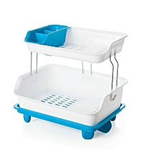 2 tier Dish Drainer Drying Rack blue