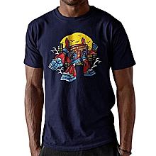 Navy Blue Cotton Short Sleeve Tshirt Printed with Boom Box Robot Cartoon Image