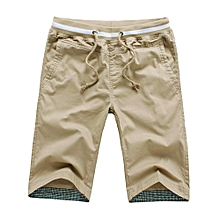 Elastic Waist Men Straight Shorts - Khaki
