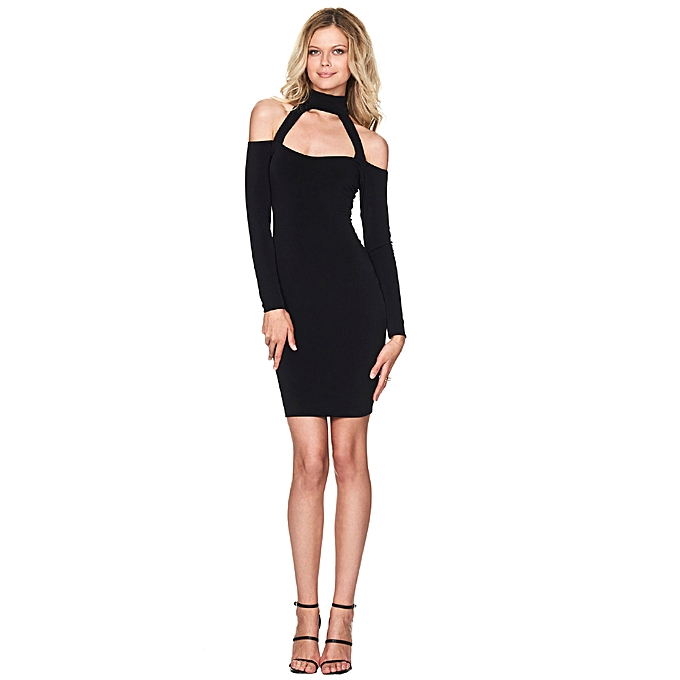 d53df7467d394c New Sexy Women Bodycon Dress High Neck Cut Out Off Shoulder Long Sleeve  Party Clubwear Mini