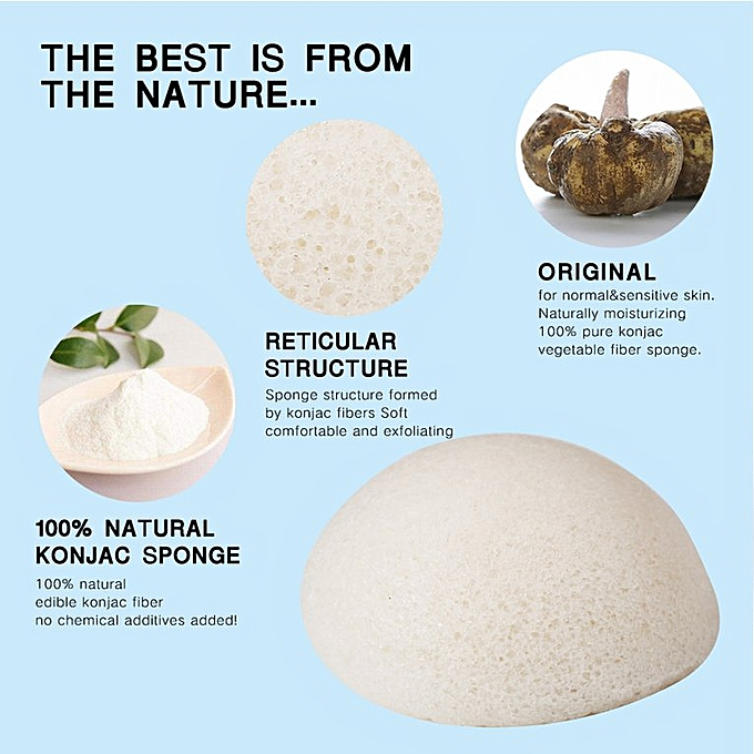 natural konjac cotton face wash wash cotton high quality dry and wet 2  state White Wet state