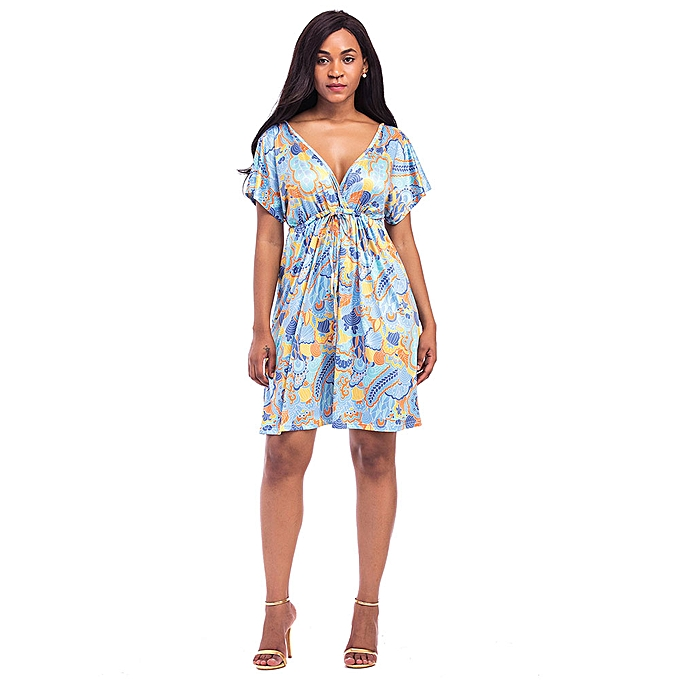 be015843bfe Sexy Women Plus Size Vintage Floral Print Dress V Neck Short Sleeve Hippie  Boho Smock Dress