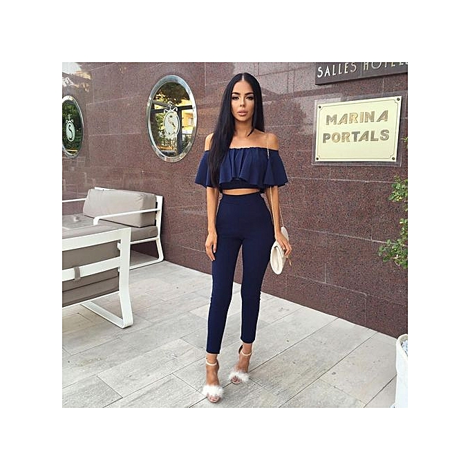 31bf973ee1e Nice Women Fashion Sexy Strapless Jumpsuit Solid Color Off Shoulder Falbala  Two Piece Suit-Navy