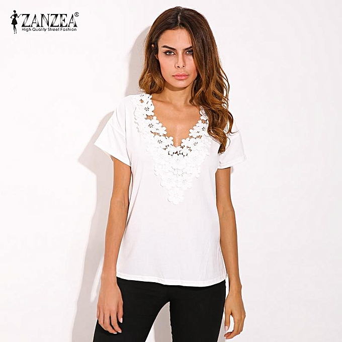 e45bd675d99 ZANZEA Summer Spring Womens Casual Loose Short Sleeve V-neck Black Lace  Flower Collar Shirt