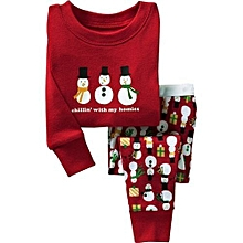 Refined Girl's Christmas Long-sleeved Snowman Two-piece Home Qute Children's Suits -red