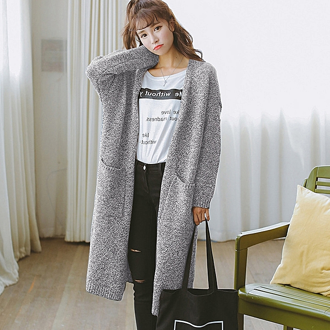 021357e62a81 jiuhap store Women Long Sleeve Oversized Loose Knitted Sweater Cardigan  Outwear Coat GY-Gray